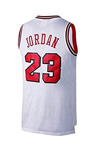 SHOP YJX Hombres NBA Michael Jordan No.23 Baloncesto Jersey Chicago Bulls Retro Aptitud Mangas De Deportes Top (Color : White, Size : M)