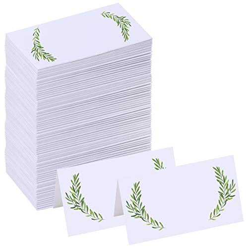 Supla 100 Pcs Place Cards Escort Cards Seating Cards Greenery Willow Place Cards White Blank Tent Cards Wedding Watercolor Floral Dinner Place Cards Guest Name Party Table Number Cards Buffet Cards
