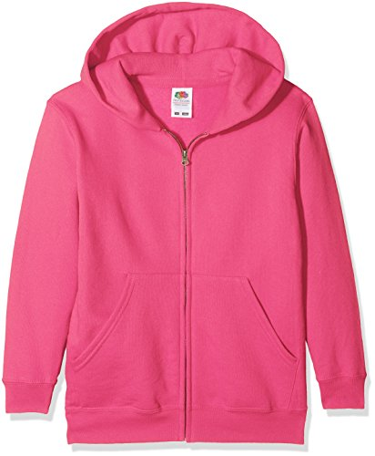 Fruit of the Loom Jungen Classic Hooded Sweat Jacket Kids Kapuzenpullover, Rosa (Fuchsia 439), 140 (Herstellergröße: 9-11)