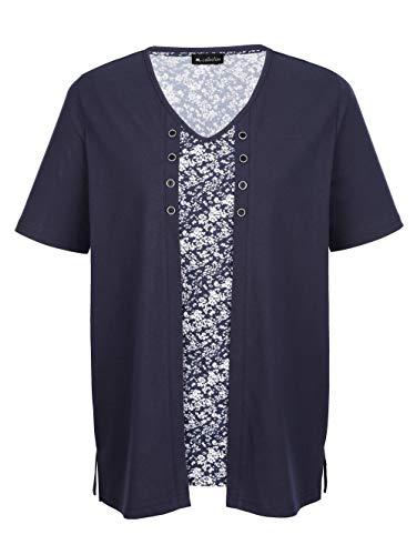 m. collection Damen Doppelpack Shirts Halbarm in Marineblau bestehend aus einem rundum bedruckten Shirt und einem Shirt in Doppel-Optik