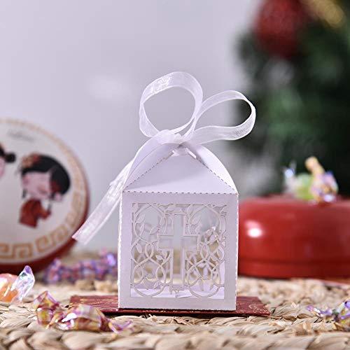 LIJUMN 100 Piezas Cochecito Cajitas Regalos Detalles con Cintas para Invitados Recuerdos Boda Comunion Bautizo Fiesta Baby Shower Cumpleaños Comunión Detalle