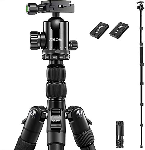 "JOILCAN 81"" Tripod, Aluminum Camera Tripod for DSLR, Compact Travel Tripod Monopod 360° Panorama Ball Head with 2 Quick Release Plates, 16.5"" When Folded, 25 lbs Loads - Black"