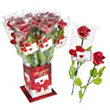 Günthart Rote Marzipan-Rose mit Stiel - 30g