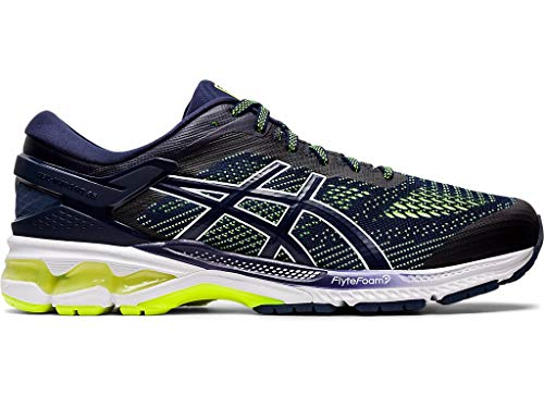 ASICS Men's Gel-Kayano 26 Running Shoes, 10.5M, Peacoat/Safety Yellow