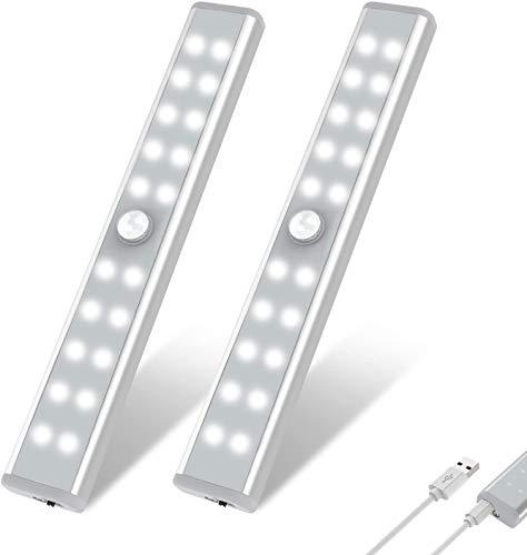 LED Schrankbeleuchtung mit Bewegungsmelder,OxyLED 2 Stück 20 LED Unterbauleuchten,USB Wiederaufladbare Schrankleuchten,Stick auf überall Schrankbeleuchtung mit Magnetstreifen für Schrank Küche Treppe