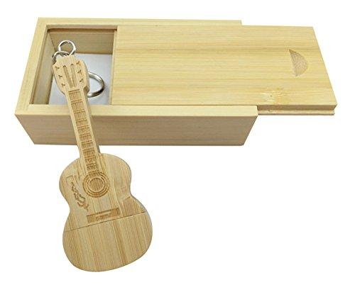 Chiavetta USB in legno di acero a forma di chitarra in scatola di legno Bamboo wood 2.0/32GB