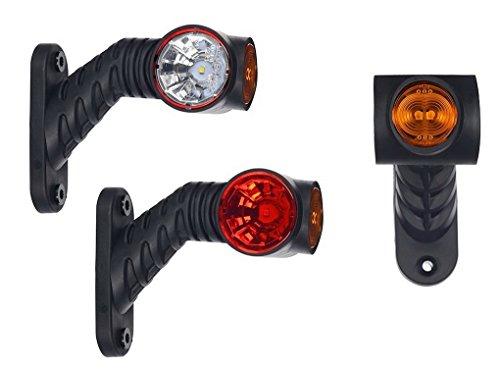 2 x LED Gummi Begrenzungsleuchte Seitenleuchte 12V 24V mit E-Prüfzeichen Positionsleuchte Auto LKW PKW KFZ Lampe Leuchte Licht Weiß Rot Orange