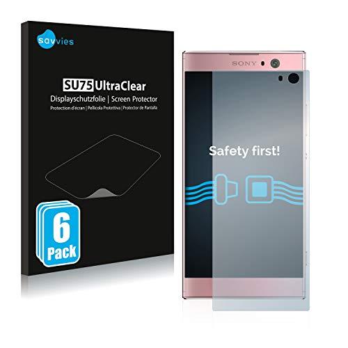 Savvies 6X Schutzfolie kompatibel mit Sony Xperia XA2 / XA2 Dual Bildschirmschutz-Folie Ultra-transparent