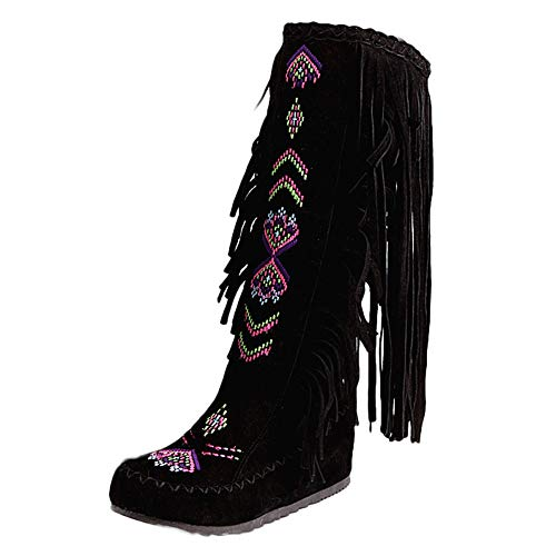 RNUYKE Knee High Boots for Women Moccasins Embroidered Fringed Booties Winter Flats Suede Long Snow Boots Black