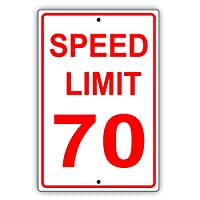 """スピードリミット 70MPH マイル/時間 赤文字ゾーン スローダウン スピード制限 アラート 注意 警告 注意 アルミ メタル ブリキ看板 12""""x18"""""""