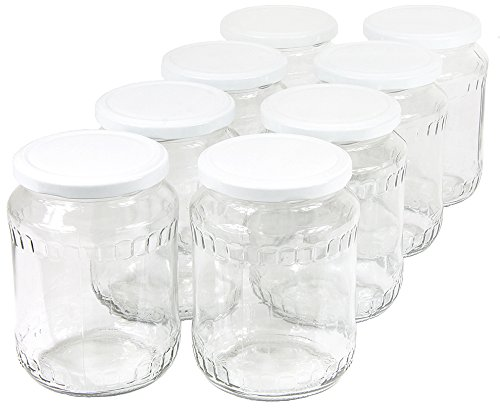 Wamat 720 ml Einweckgläser mit Deckel weiß Einmachgläser Vorratsgläser Einmachglas Weck (Menge: 48 Stück)