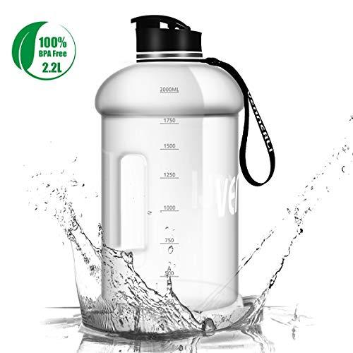 VENNERLI Trinkflasche Sport 2,2 Liter Groß Sport Wasserflasche Groß Sportflasche BPA Frei Auslaufsicher, für Gym Diät Bodybuilding Outdoor Sport Wandern Büro