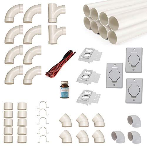 Zentralstaubsauger Einbau-Set für 3 Saugdosen mit Rohren, Fittings und Co. - DIY-Montageset für Staubsaugeranlage - Saugdose Deckel rund rechteckig