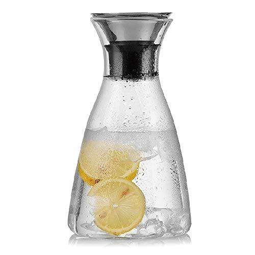 1L Glaskaraffe, Premium Borosilikat Wasserkaraffe mit Deckel | Hitzebeständig, geeignet für heiße und kalte Getränke, Saft und Wein usw.