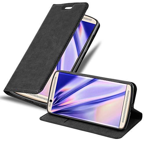 Cadorabo Hülle für ZTE AXON 7 Mini in Nacht SCHWARZ - Handyhülle mit Magnetverschluss, Standfunktion & Kartenfach - Hülle Cover Schutzhülle Etui Tasche Book Klapp Style