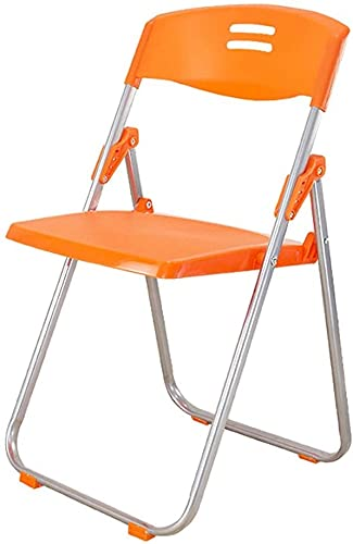 MUZIDP Silla plegable de metal portátil para interiores, ligera, apilable, para oficina, con marco de acero, soporte de 150 kg, 82 x 42 x 41 cm (color naranja)