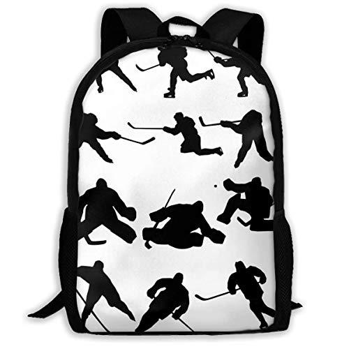 Mochila, Hockey sobre Hielo Siluetas Bookbag Casual Travel School College Bag para Adolescentes niños niñas