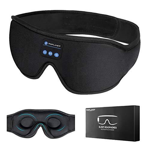 SchlafkopfhöRer Bluetooth, TOPLANET Bluetooth-Schlafmaske Timer Wireless 3d-Schlafaugenmaske, Waschbare Freisprech Augenmaske für Musikreisen,Verwendet FüR Schlaflosigkeit, Flugzeug, BüRo