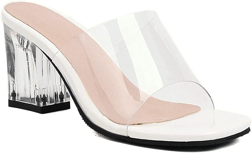 MIOKE Women's Clear Open Toe Heeled Slide Sandals Bowtie Slip On Block Low Heel Jelly Summer Dress Sandal
