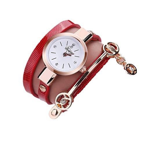 ITVIP - Reloj de pulsera para mujer, de piel sintética, moderno, con brillantes, analógico, de cuarzo, elegante Correa 550 rojo