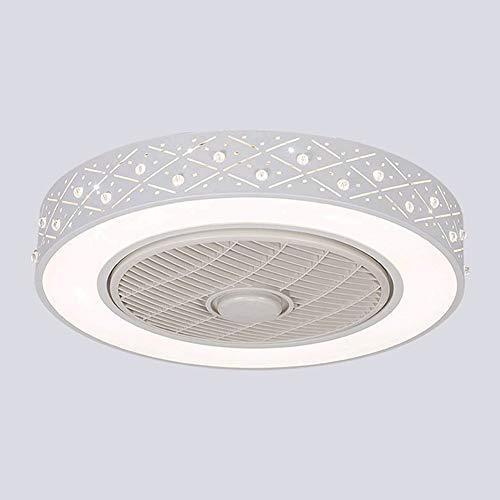Ventilador de techo LED con iluminación, mando a distancia de 48 W, luz de ventilador regulable, velocidad del viento ajustable, invisible, silencioso, lámpara de techo moderna para habitación