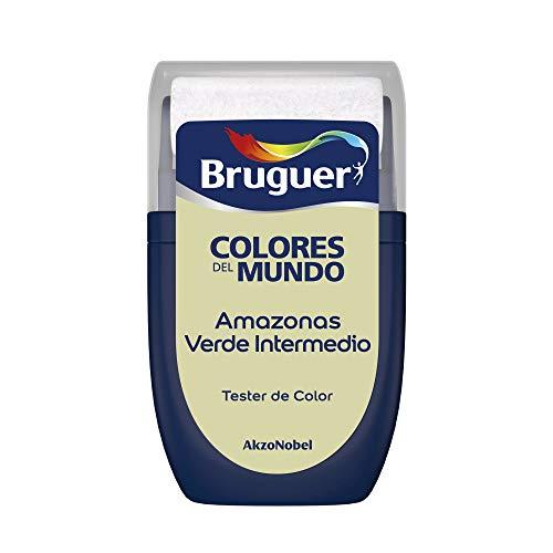 Bruguer Tester Colori del Mondo Pittura per Pareti Monostrato Amazonas Verde Intermedio