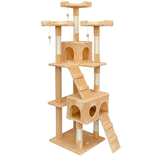 Eyepower Kratzbaum für Katzen Julia; oben ca 170cm. Sisal Natur. Beschichtung aus weichem Plüsch in verschiedenen Farben.