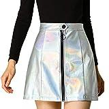 Allegra K Minifalda Corta Metálico Holográfica A-Línea Cremallera Delantera Cintura Alta Casual para Mujer Plata S