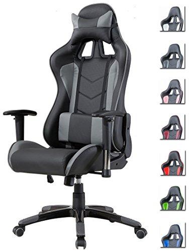 Delman Gaming Stuhl Bürostuhl Racing Stuhl Gamer Ergonomischer Stuhl Einstellbare Armlehne Einteiliger Stahlrahmen Einstellbarer Neigungswinkel 02-1004(Schwarz-Grau)