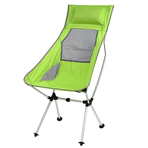 URJEKQ Silla de camping portátil ligera de aleación de aluminio para pesca al aire libre con almohada y bolsa de transporte para senderismo, viajes, picnic, playa, reclinable, verde