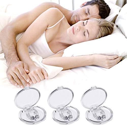 Dispositivos Anti Ronquidos,3 PCS Dispositivos Antirronquidos Magnético Clip anti ronquidos soluciones,Dilatador nasal con imanes para una cómoda congestión para dormir (transparente) (white)
