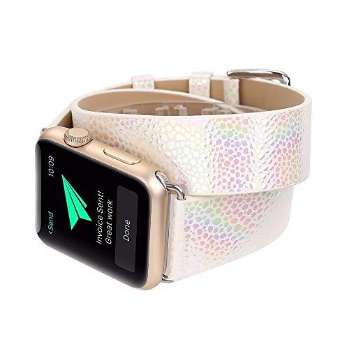 YEDDA - Correa de muñeca para Apple iWatch de doble gira estilo Glisten para Apple Watch Series 1, 2, 3, correa inteligente de 38 – 42 mm (color: blanco, tamaño: 38 mm)