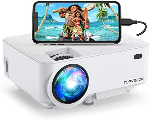 Mini Projector, TOPVISION 4000LUX Outdoor Movie Projector with Screen Mirroring,Full HD 1080P Supported LED Projector, Compatible with Fire Stick,HDMI,VGA,USB,TV,Box,Laptop,DVD