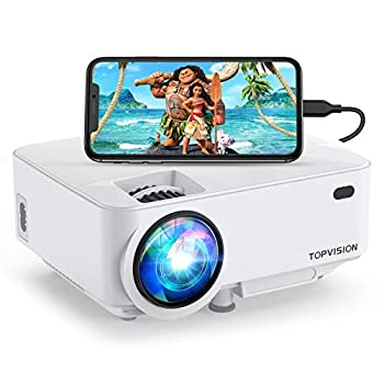 Mini Projector Top vision 5500L Outdoor Movie Projector Full HD 1080P Supported Portable Video Projector Compatible with Fire Stick,HDMI,VGA,USB,AV,Laptop,PS4