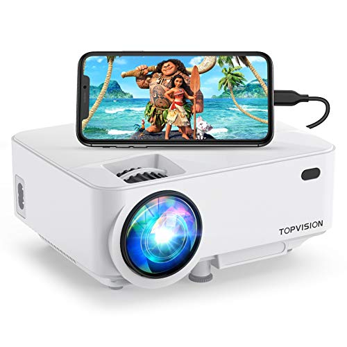 TOPVISION Mini Projector Outdoor Movie Projector with Screen Mirroring, Video Projector 1080P Supported Compatible with Fire Stick,HDMI,VGA,USB,TV,Box,Laptop,DVD
