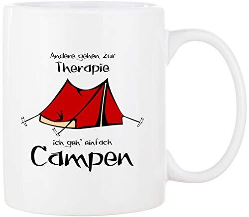 Cadouri - CAMPING-Tasse mit Spruch ANDERE GEHEN ZUR THERAPIE ICH GEH' EINFACH CAMPEN Kaffeetasse Kaffeebecher Trinkbecher Campingbecher - 300 ml