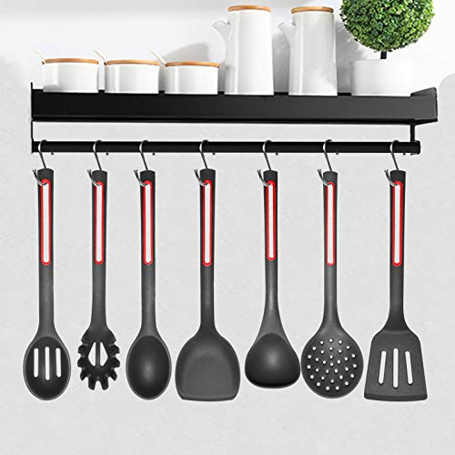 Kitchen Utensils Set Silicone Cooking Utensils-IELECMG Cooking Spoon Dishwasher Safe/Heat Resistant Silicon kitchen Utensil Set Spatula Slotted Spoons Cooking Tools for Non-stick Cookware,Black