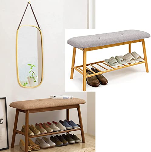 Banco de almacenamiento de zapatos de 2 niveles con asiento Estantes de zapatos de madera gris Armario organizador de taburetes, Pasillo de estilo japonés, Zapatero pequeño de 60 cm, 90 cm de ancho, a