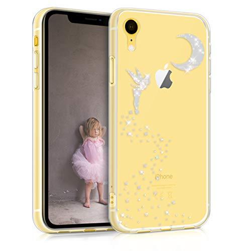 kwmobile Funda Compatible con Apple iPhone XR - Carcasa de TPU Hada Brillante en Plata/Transparente