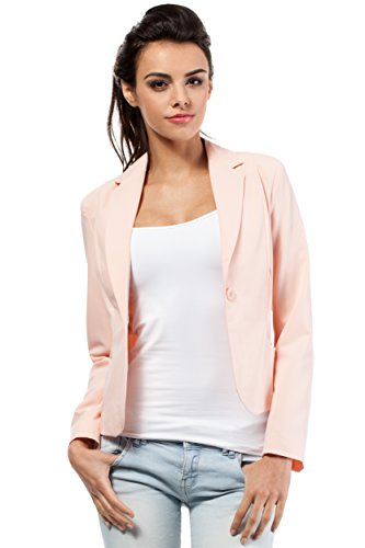 MOE klassischer Damen Business Blazer, rosa (Puder), 42