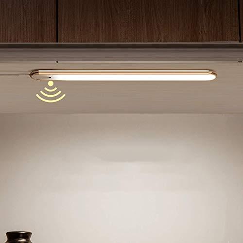 Iluminación debajo del gabinete, barra de luz LED de ahorro de energía en el pasillo de la sala de estar con adaptador e interruptor de sensor para cocina, armario, espejo frontal, luz blanca, 60 cm