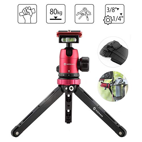 Moman Tabletop Tripod with 360 Camera Ball Head, with 1/4 and 3/8 Screws and Quick Release Plate for DSLR, CNC Aluminum Housing