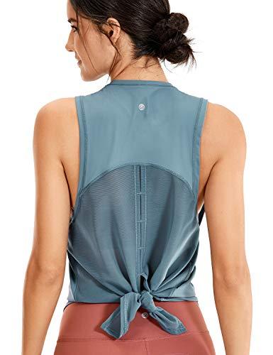 CRZ YOGA Mujer Camiseta de Malla sin Mangas de Yoga Fitness Deportiva Azul Pizarra 38