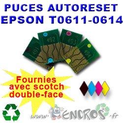 Autoreset - Lote de 4 chips para autoreset EPSON de colores y negro de T0611 a T0614
