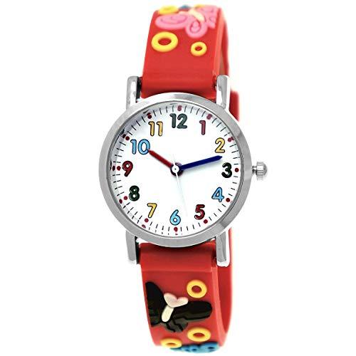 Pure Time Orologio da bambina in silicone con farfalla 3D e farfalla, colore: rosso, rosa, giallo, viola