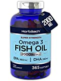 Omega 3 Fish Oil 2000mg | 365 Softgel Capsules | 6 Month Supply!