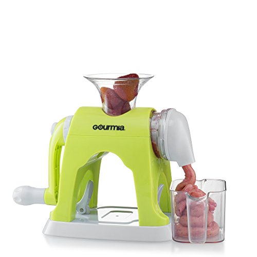 Gourmia GIC9610 Manual Healthy Frozen Dessert Maker, Makes Sorbet, Soft-Serve Sherbet & Frozen Fruit Treats, Easy Hand Crank, Free E-Recipe book included, BPA free food safe material, GREAT FOR KIDS