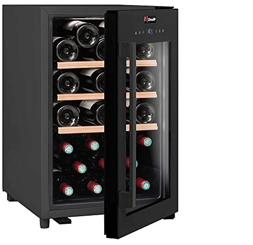 CLIMADIFF CS31 Design Getränkekühlschrank mit Glastür | 31 Flaschen / 60 L | TÜV geprüft | Einbau Weinkühlschrank | Kompakt 62x40x54 cm | Leise 42 dBA