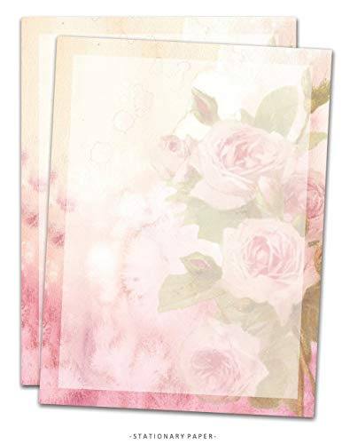 Stationary Paper: Watercolor Roses Stationery Letter Paper, Set of 25 Sheets Floral Designs for Writing, Flyers, Copying, Crafting, Invitations, ... Events, and School Supplies, 8.5 x 11 Inch