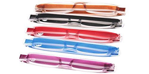 SOOLALA Best Gifts 5-Pairs 360 Rotating Tube Pen Clip Folding Reading Glasses, 2.0D